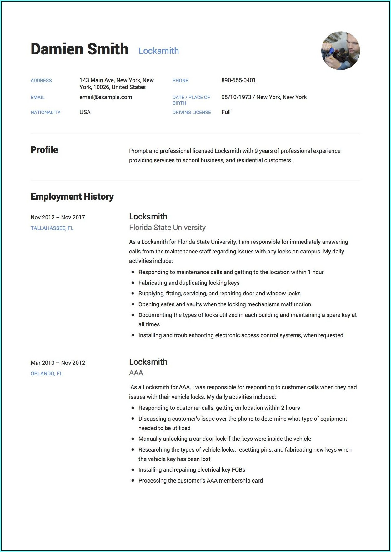 Resume Sample Template Free Download