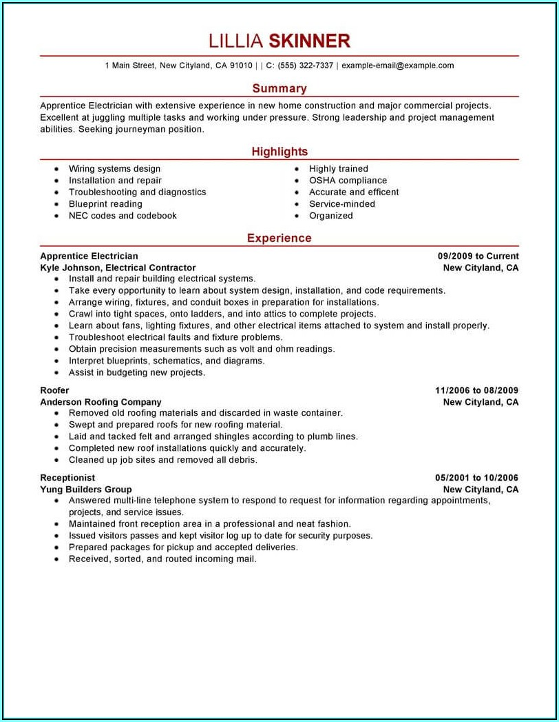 Resume Template For Electrician Apprentice