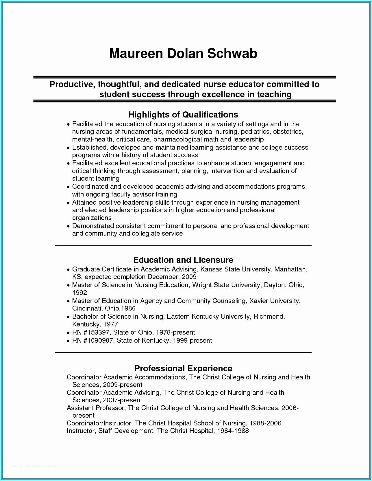Resume Template For Nursing Instructor