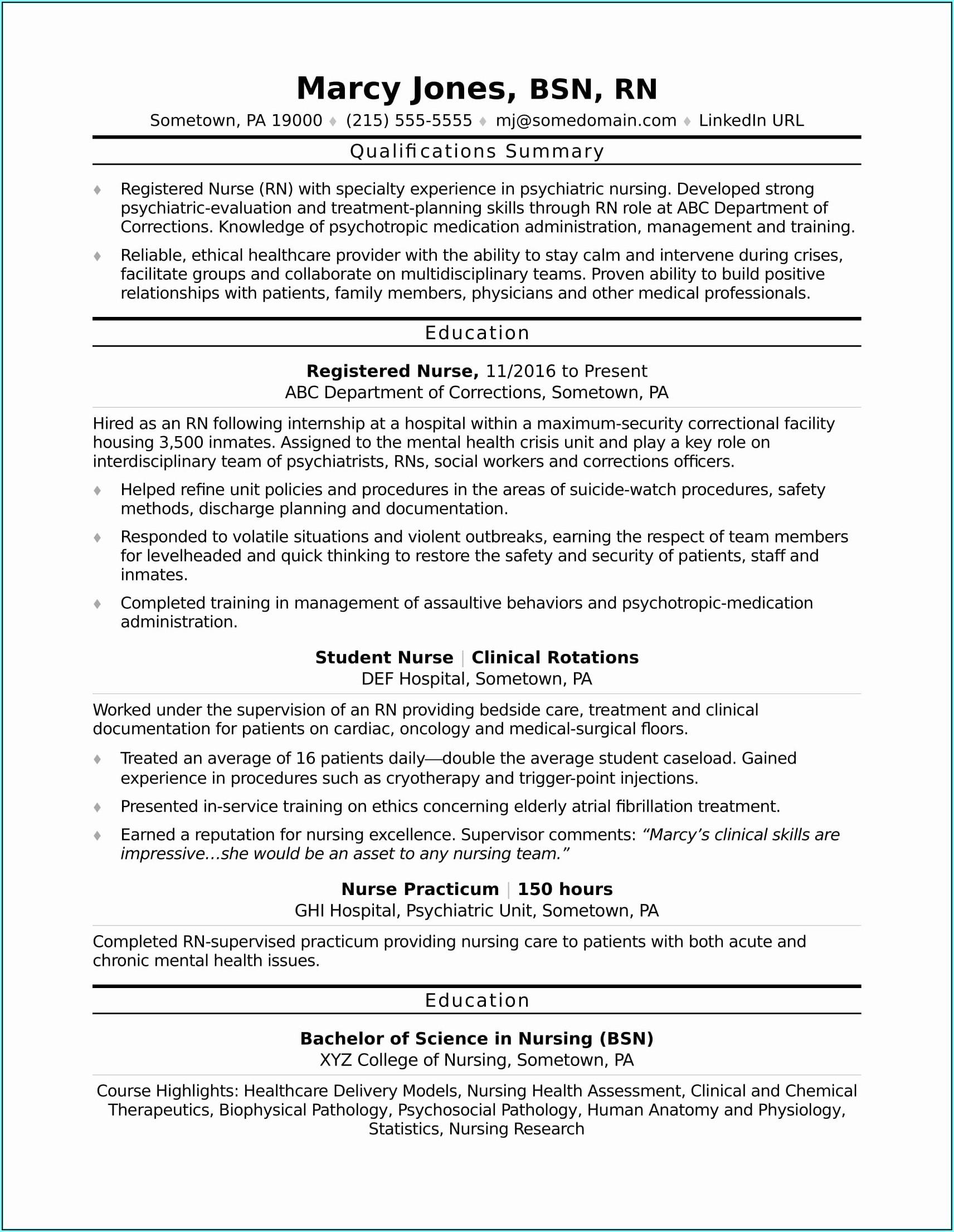 Resume Template For Nursing School Application