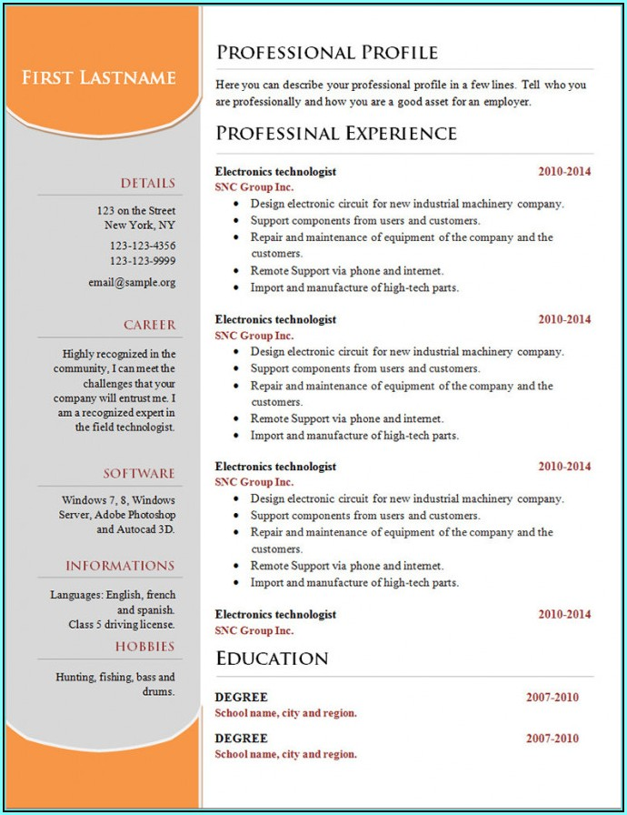 Resume Template Microsoft Word Free Download