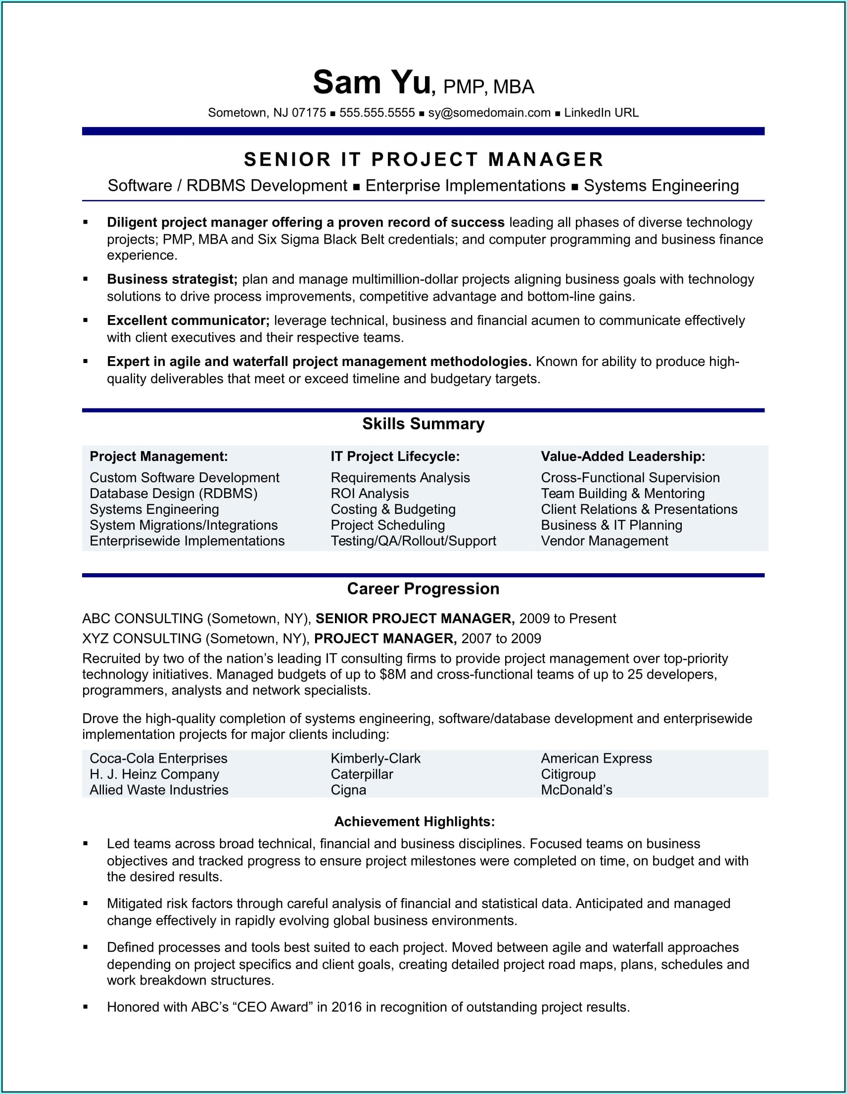 Resume Template Software Development Manager