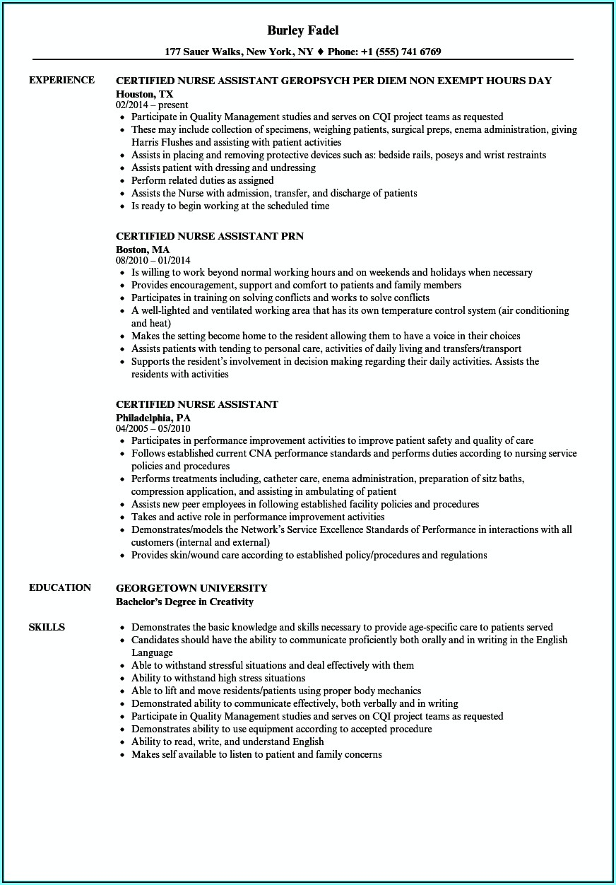 Resume Templates For Certified Nursing Assistant