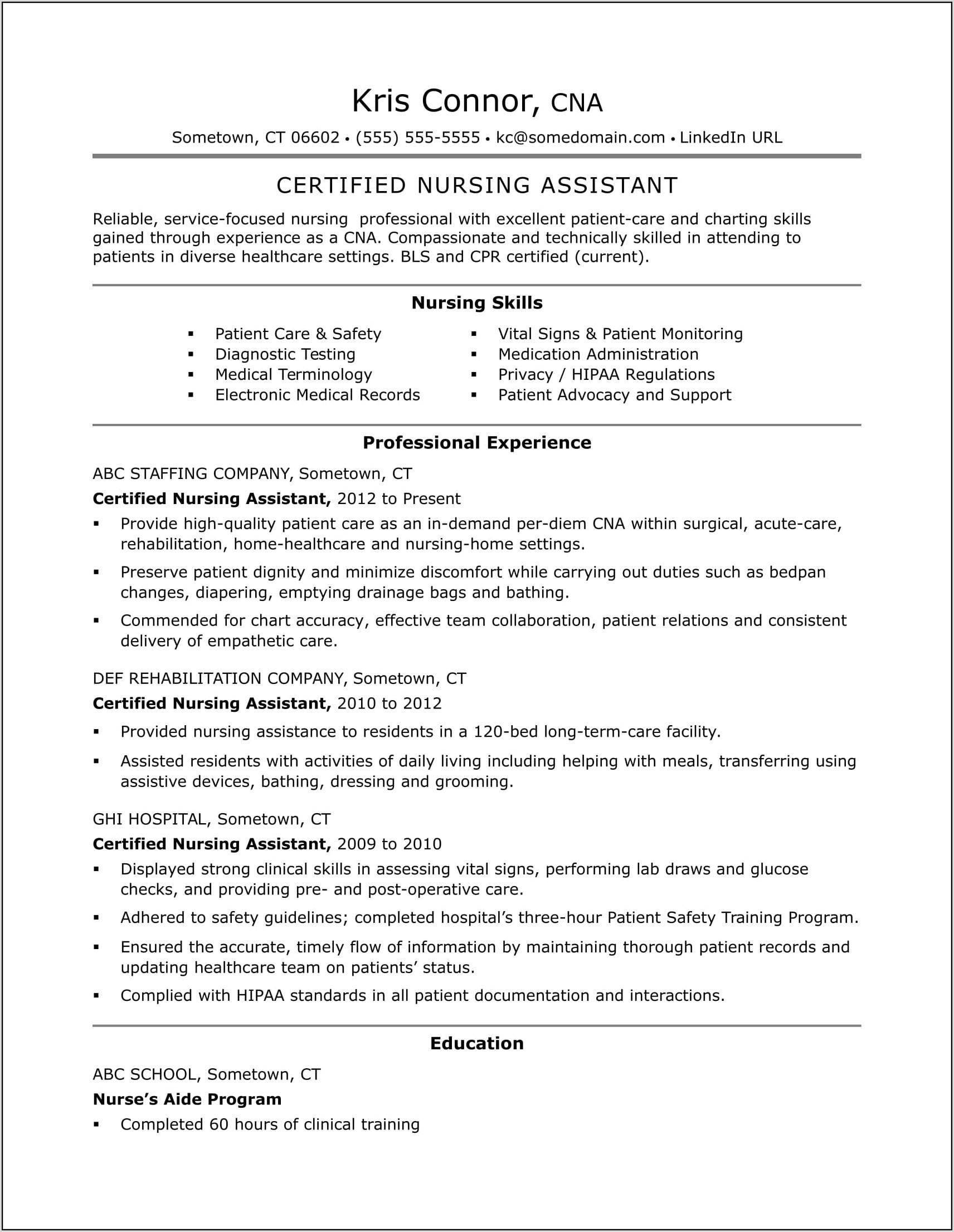 Resume Templates For Cnas Free