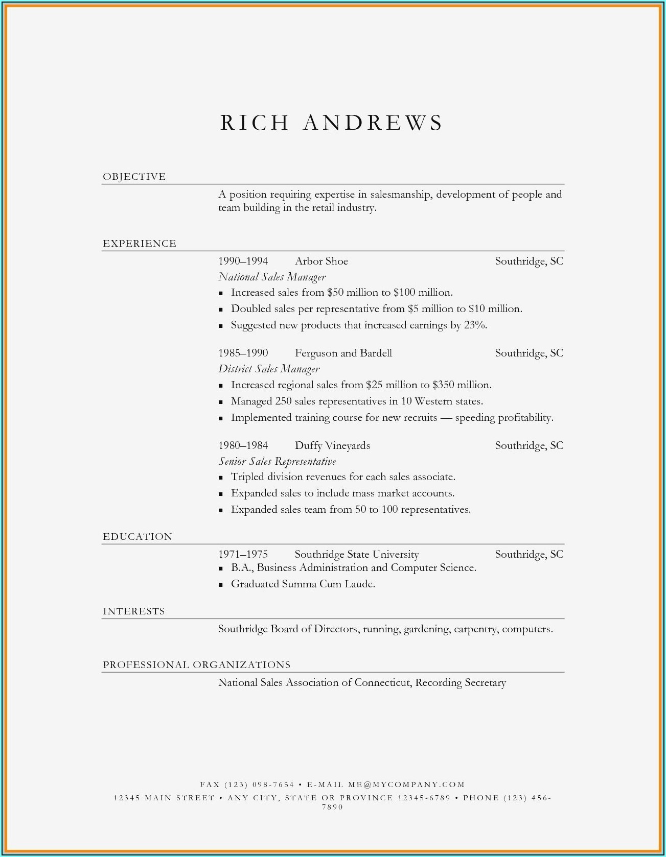 Resume Templates For Sales And Marketing