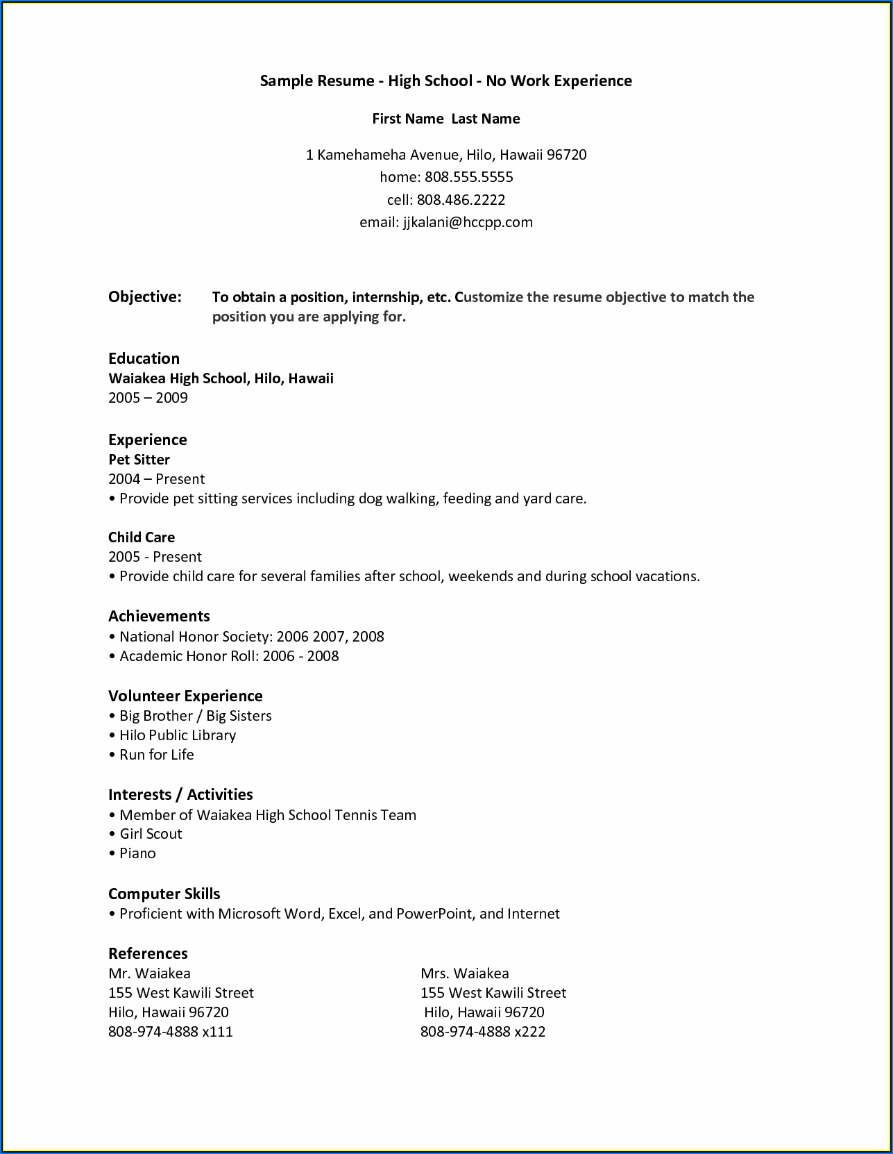 Resume Templates For Students In High School With No Experience