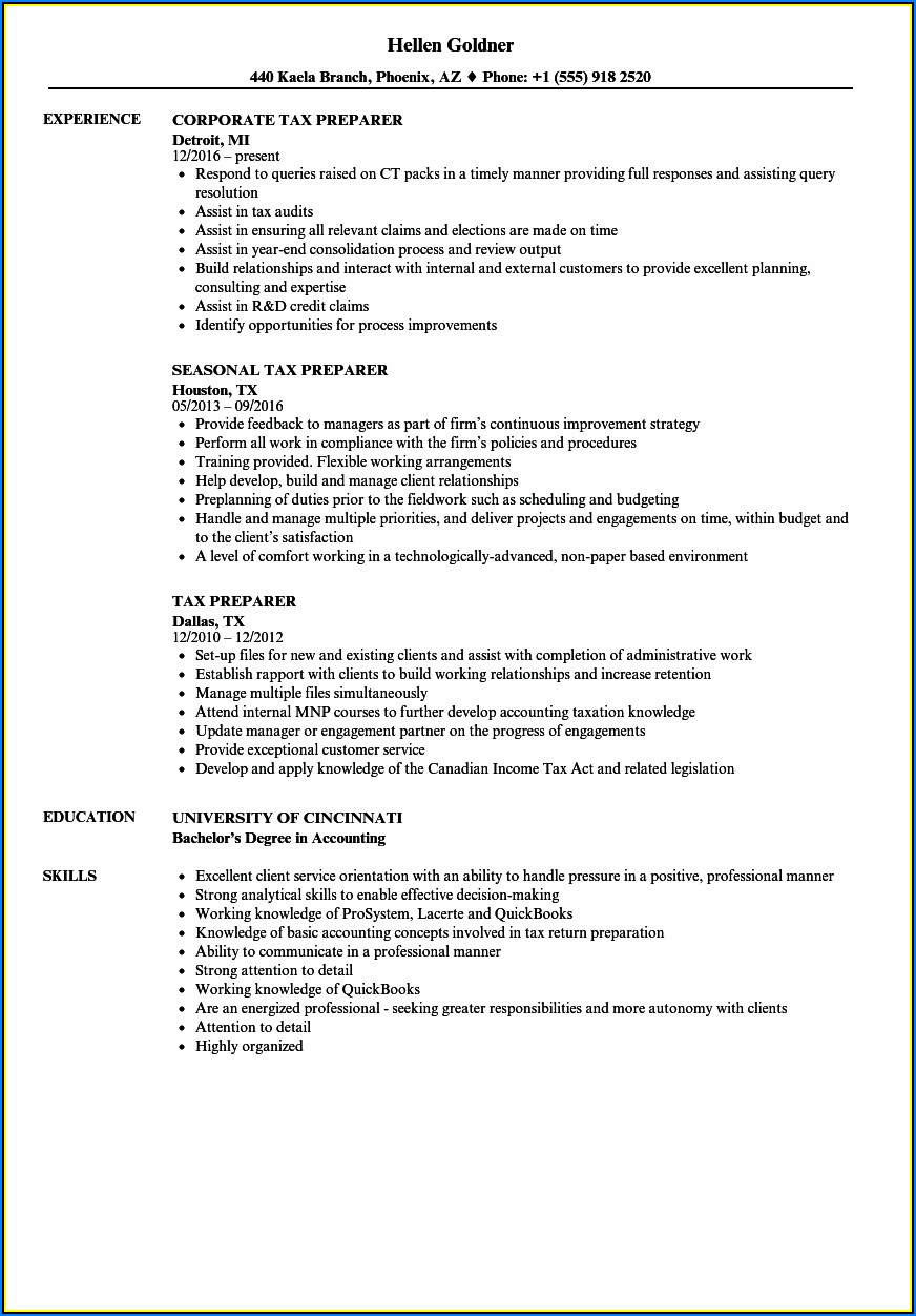 Resume Templates For Tax Professionals