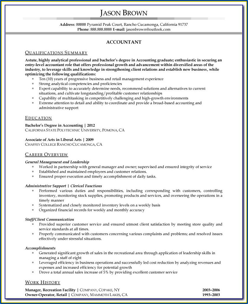 Resumes For Accountants Examples
