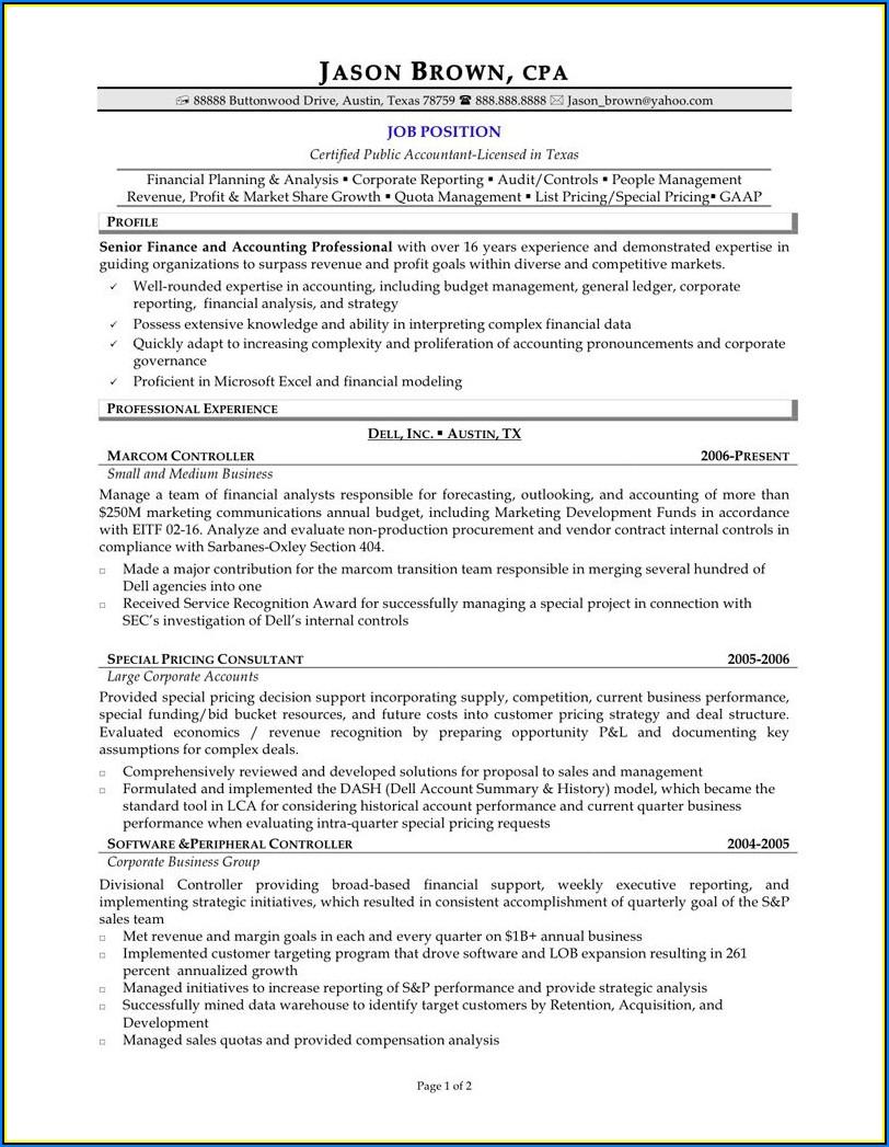 Resumes For Senior Accountants