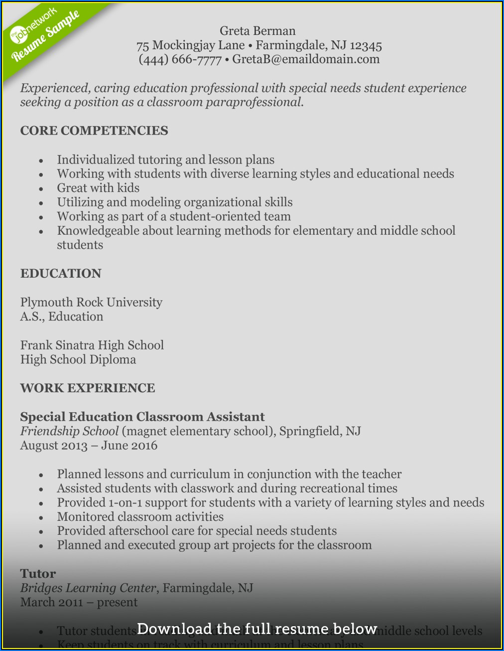 Resumes For Teachers With Experience