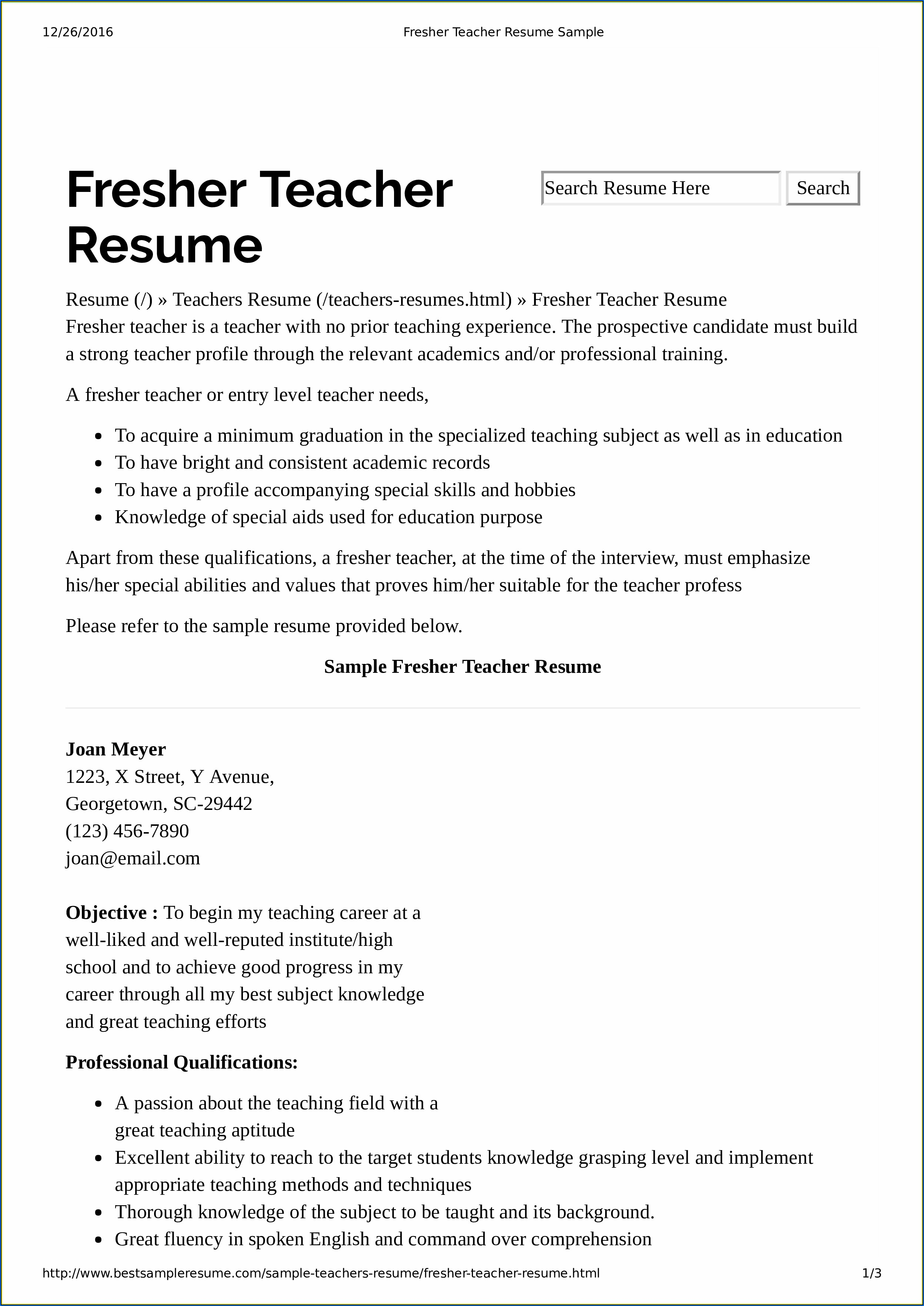 Resumes For Teachers With No Experience