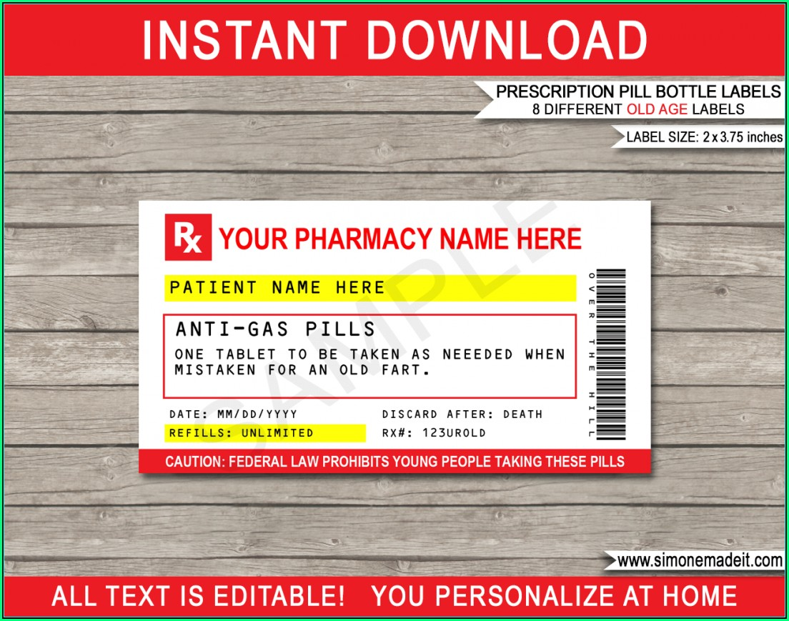 Rx Pill Bottle Label Template