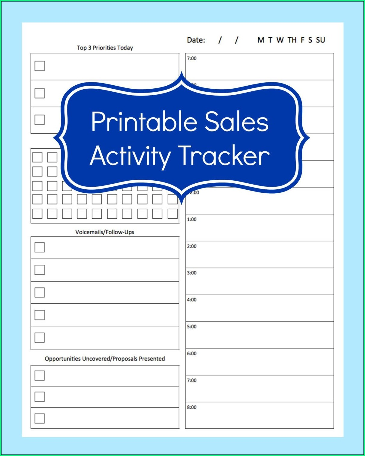 Sales Activity Tracking Template
