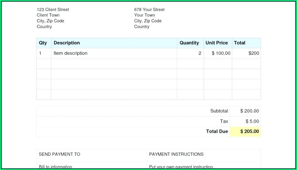 Sales Invoice Template Word Download Free