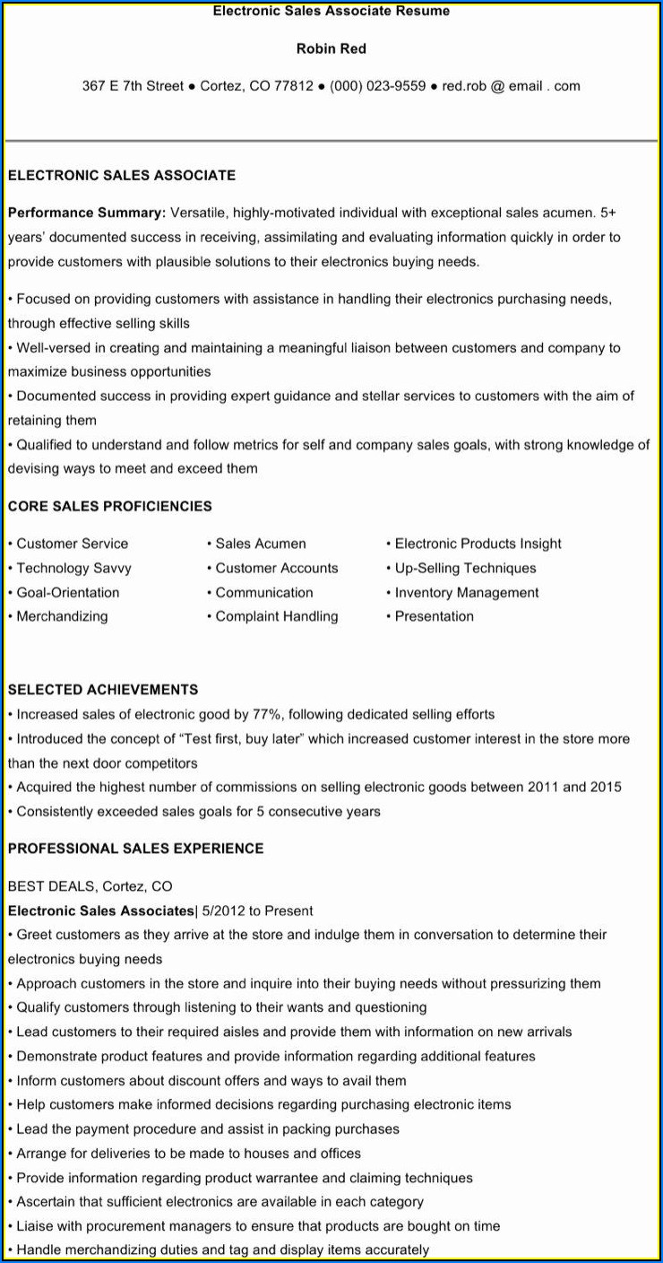 Sales Resume Templates Free Download
