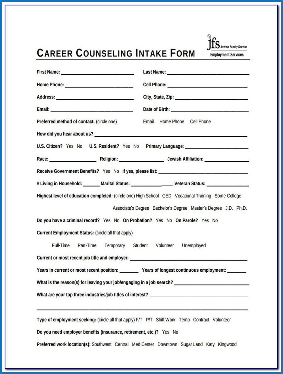 Sample Client Intake Form Counseling