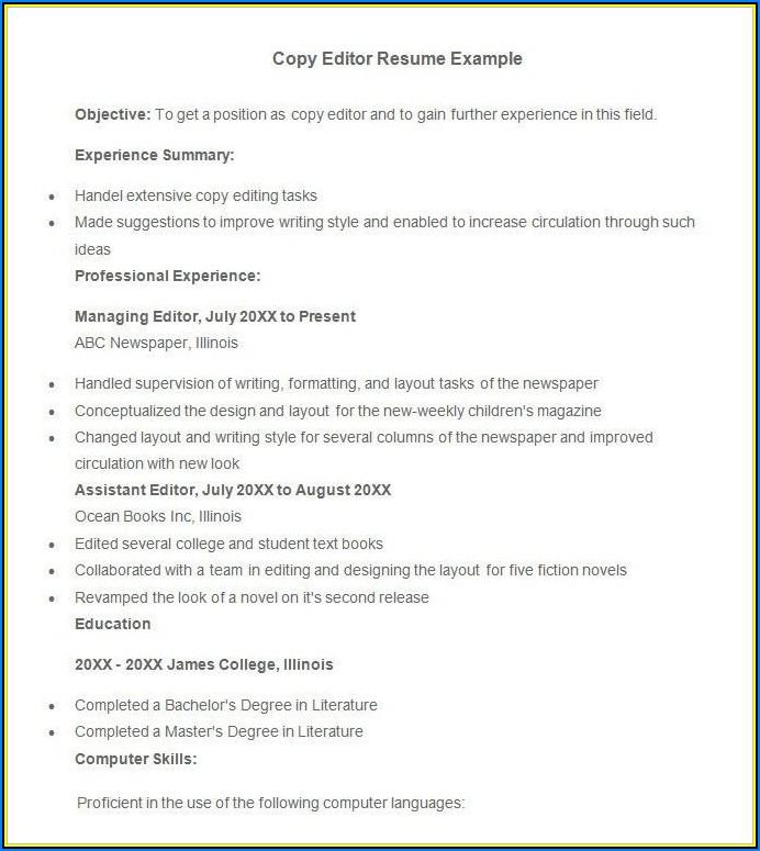 Sample Copy Editor Resume