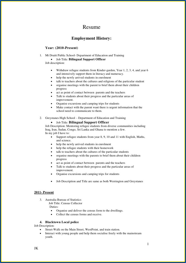 Sample Copy Of Professional Resume
