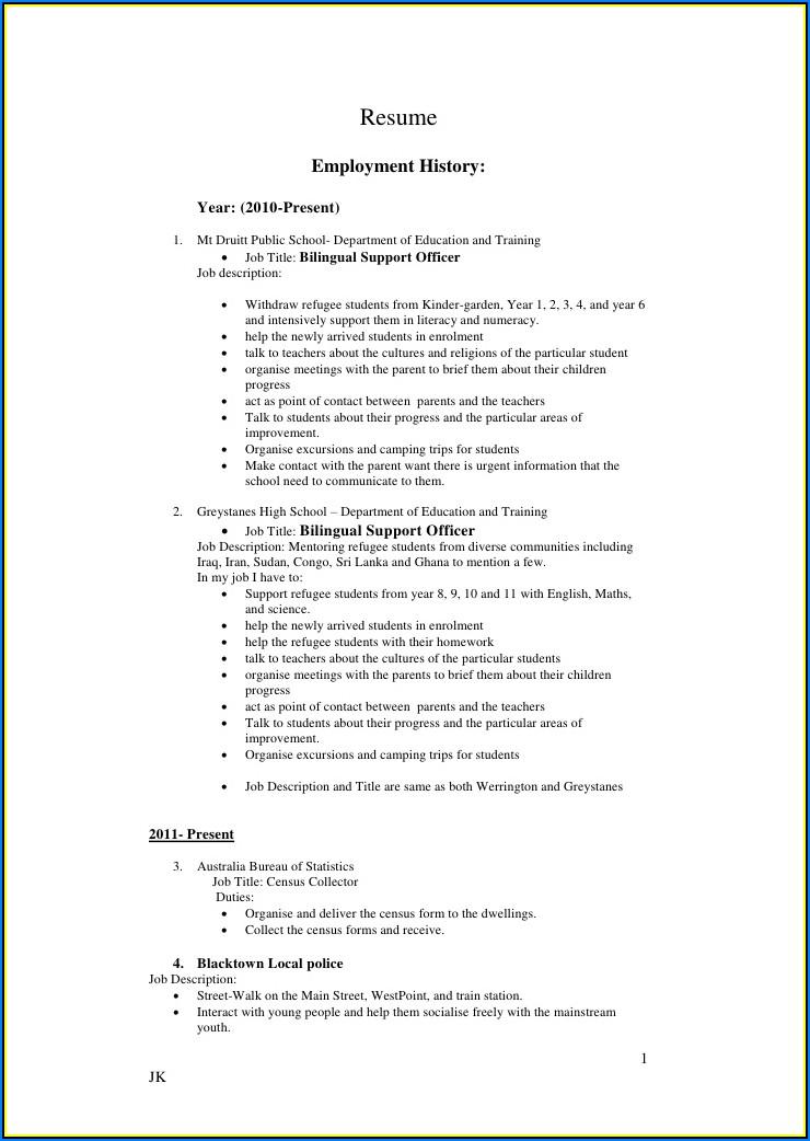 Sample Copy Of Professional Resume