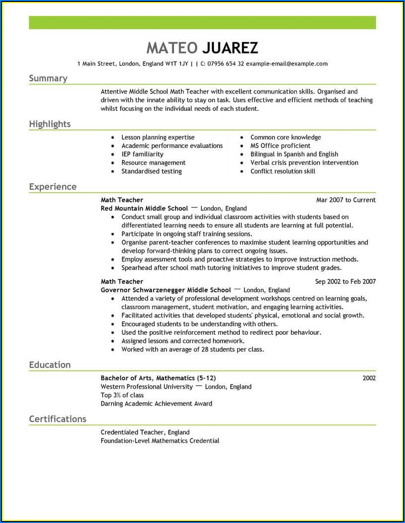 Sample Copy Of Teacher Resume