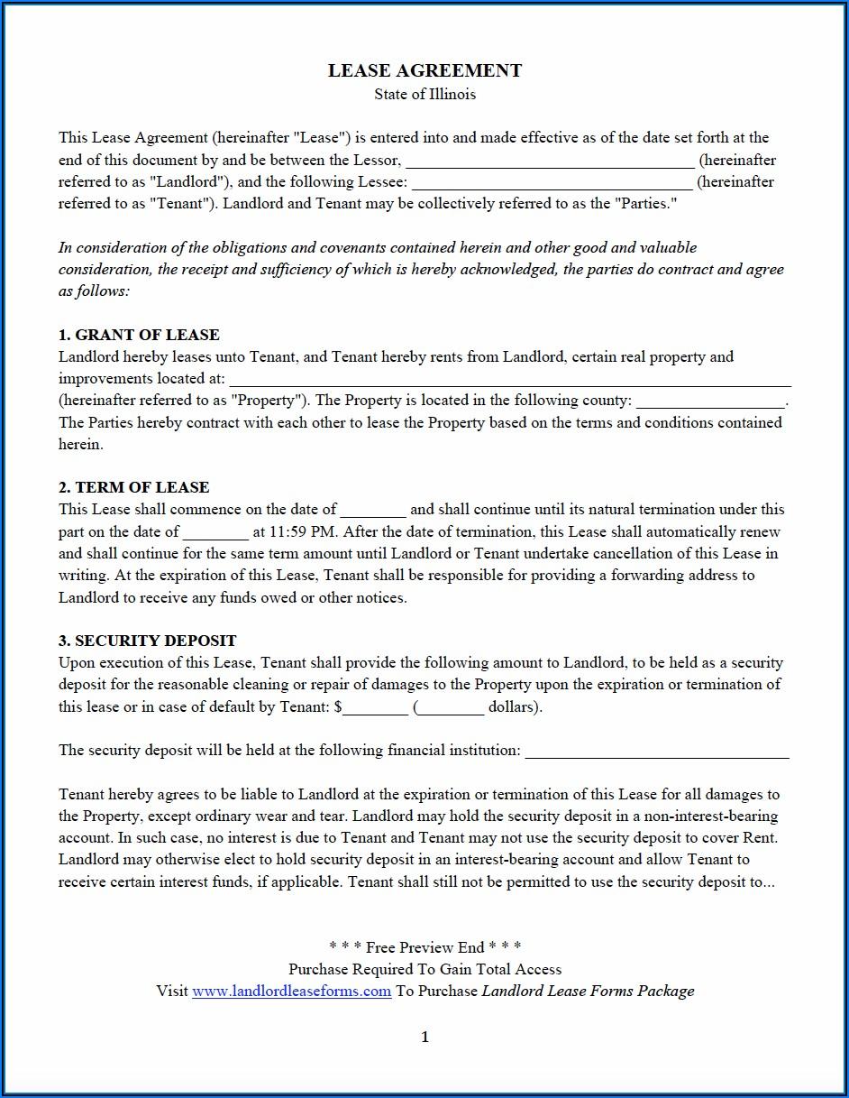 Sample Residential Lease Agreement Illinois
