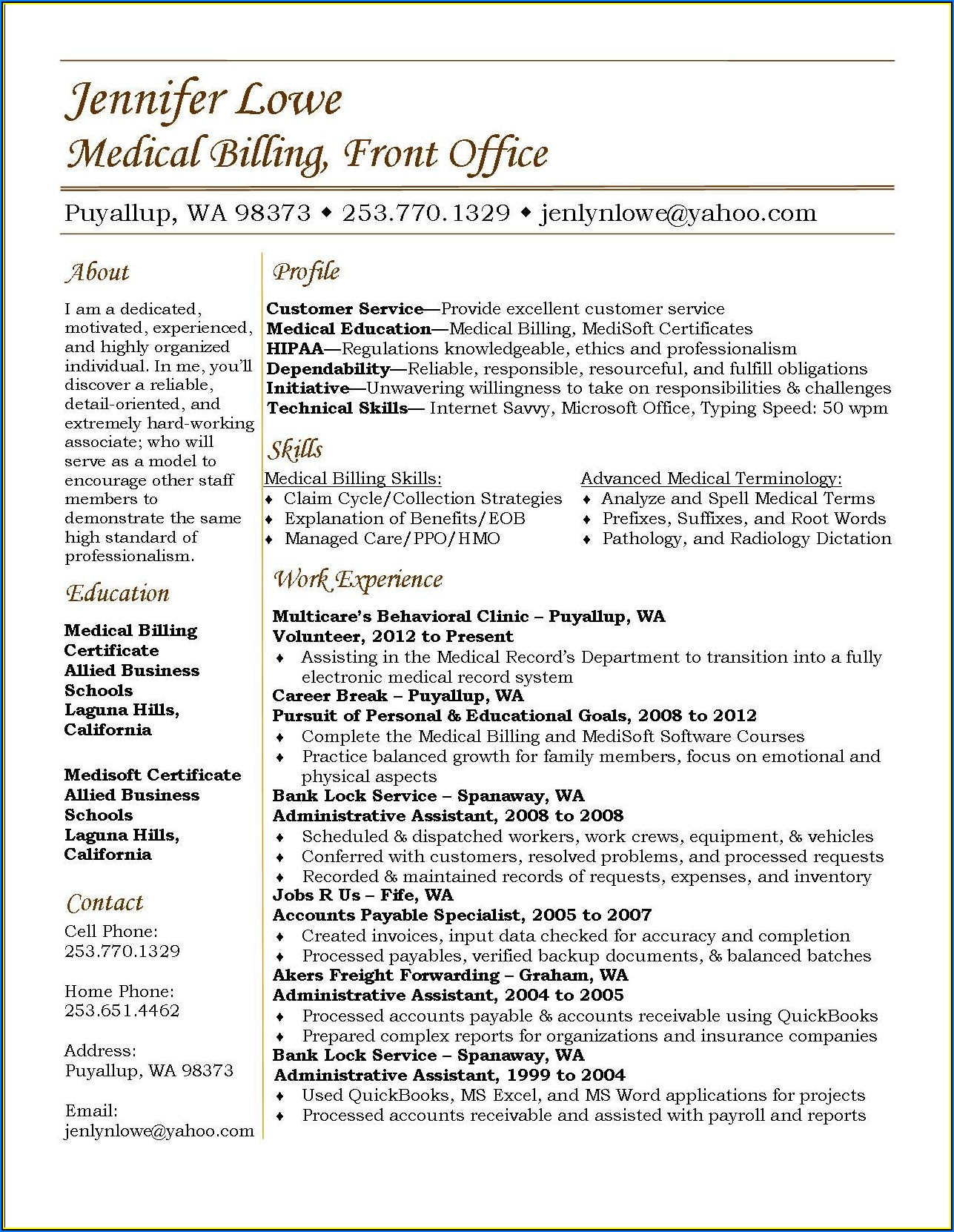 Sample Resume For Entry Level Medical Billing And Coding