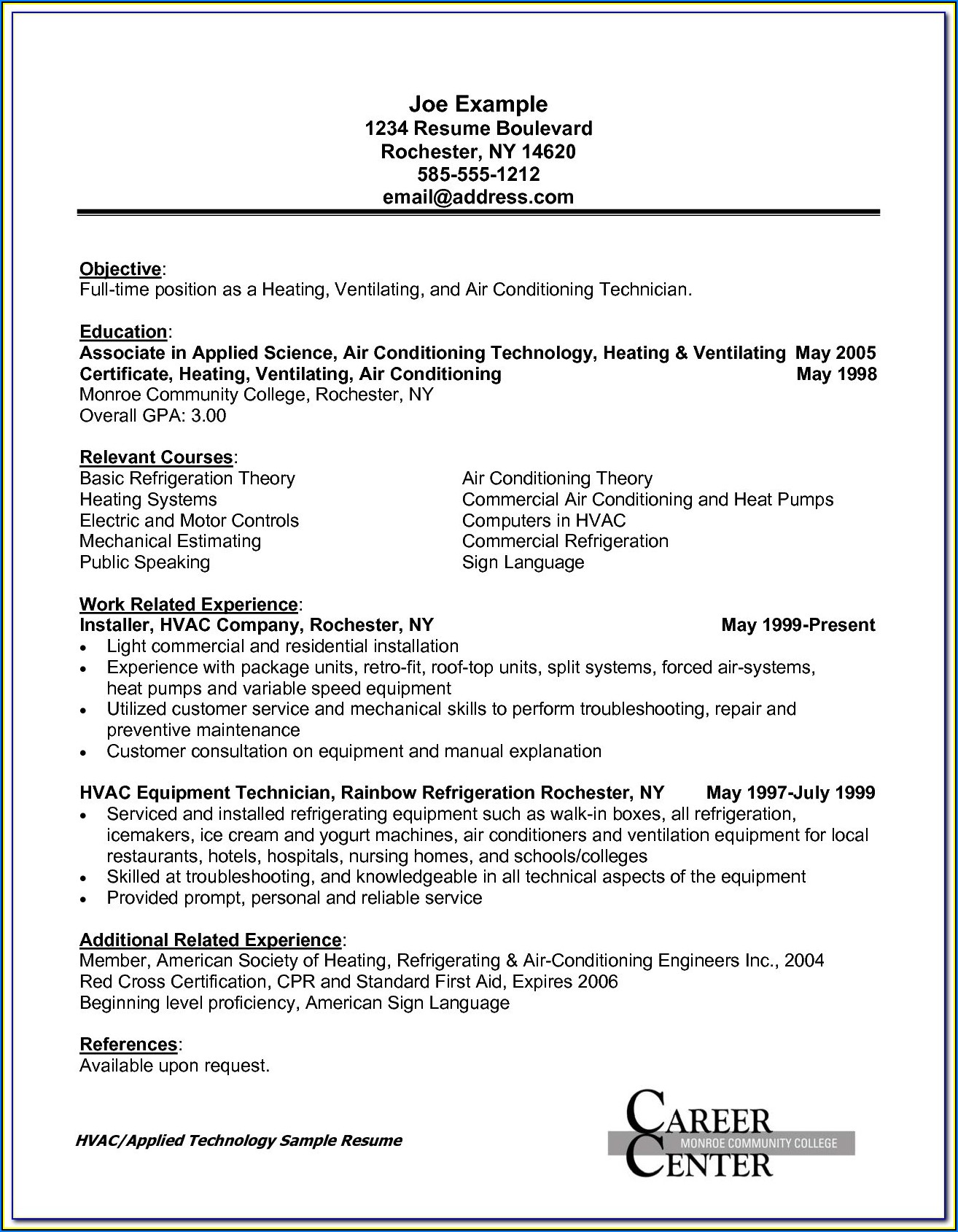 Sample Resume For Hvac Installer