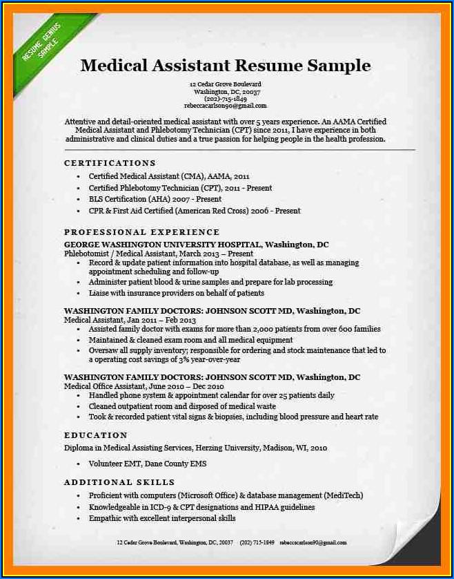 Sample Resume For Medical Assistantphlebotomist