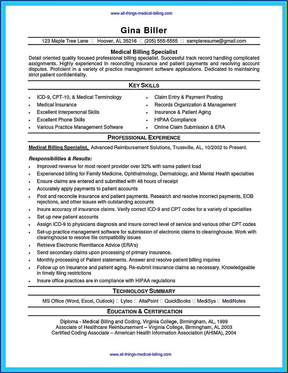 Sample Resume Medical Billing And Coding