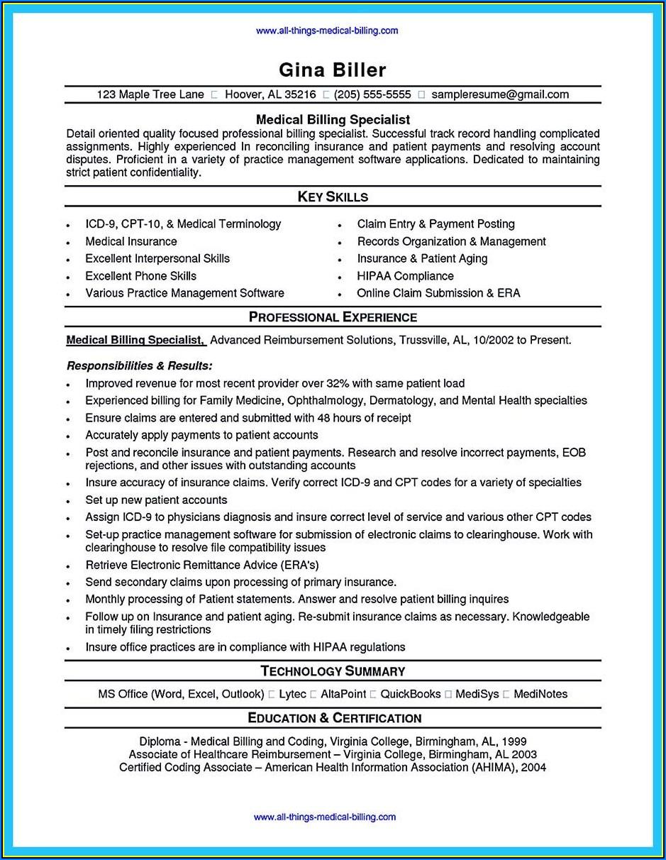 Sample Resume Medical Billing And Coding