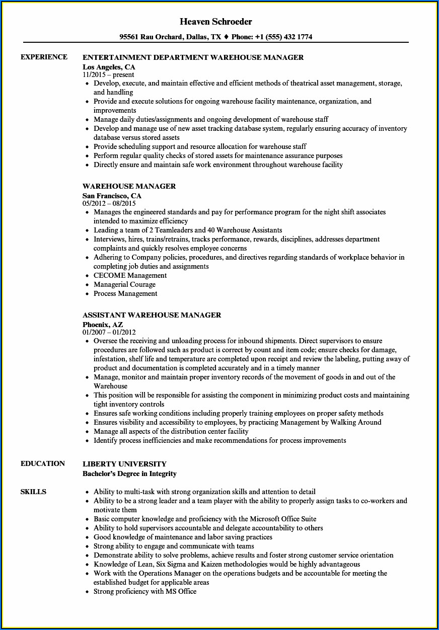 Sample Resume Warehouse Administrator