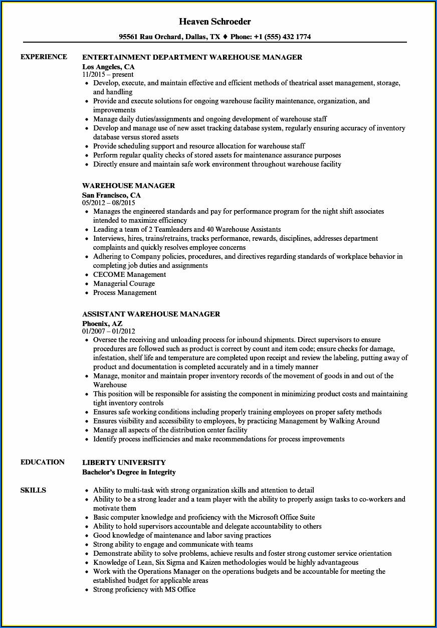 Sample Resume Warehouse Administrator