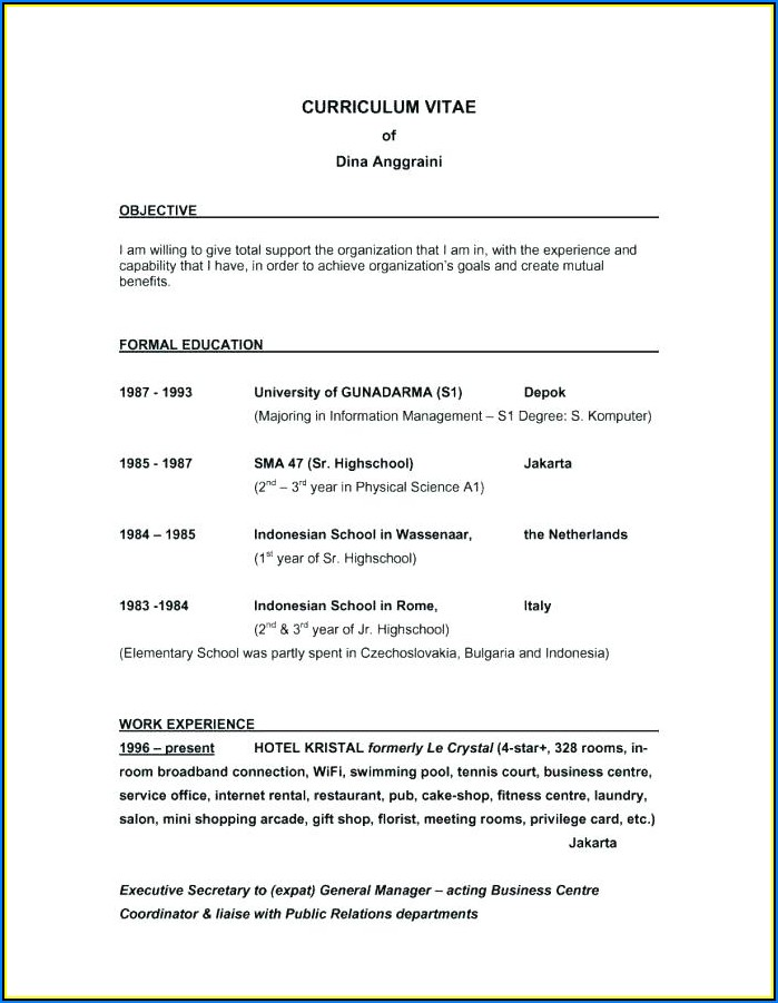 Samples Of A Good Resume Objective