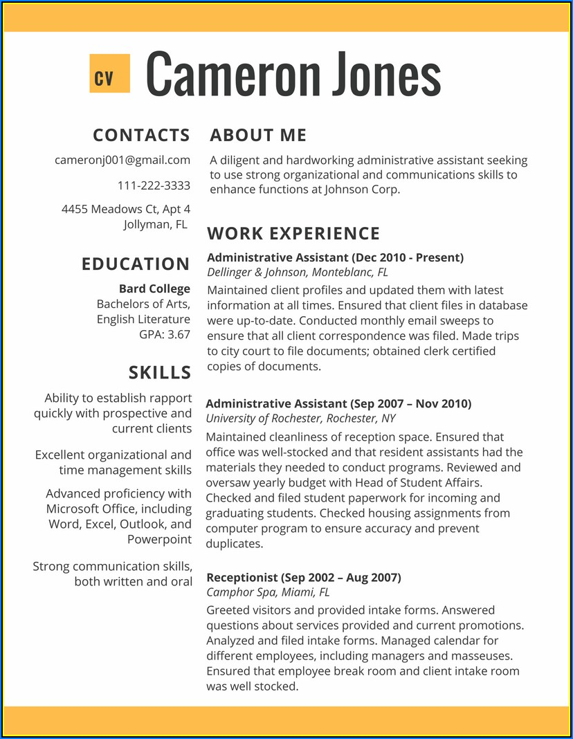 Samples Of Good Resumes 2017