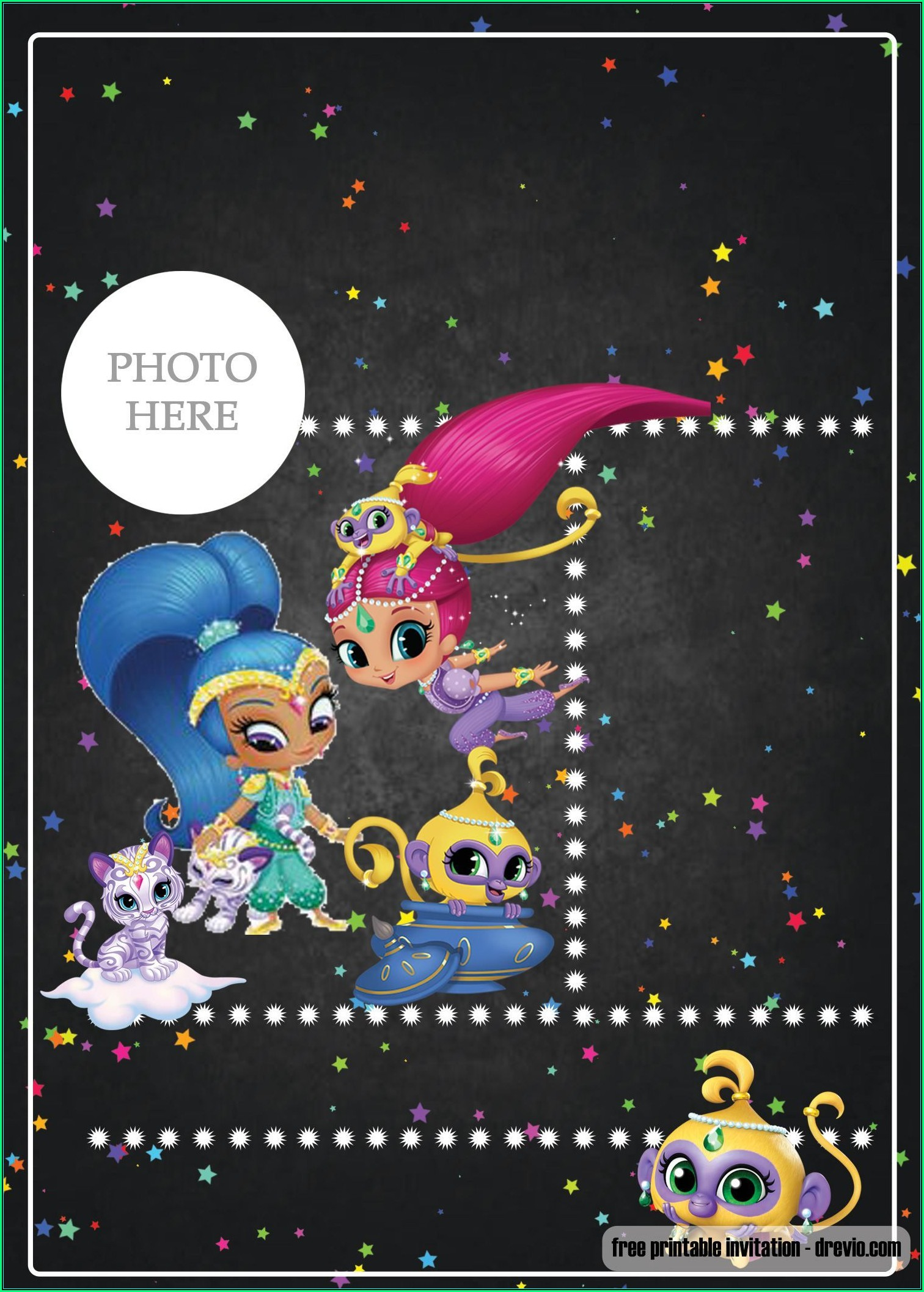 Shimmer And Shine Birthday Invitation Template Free