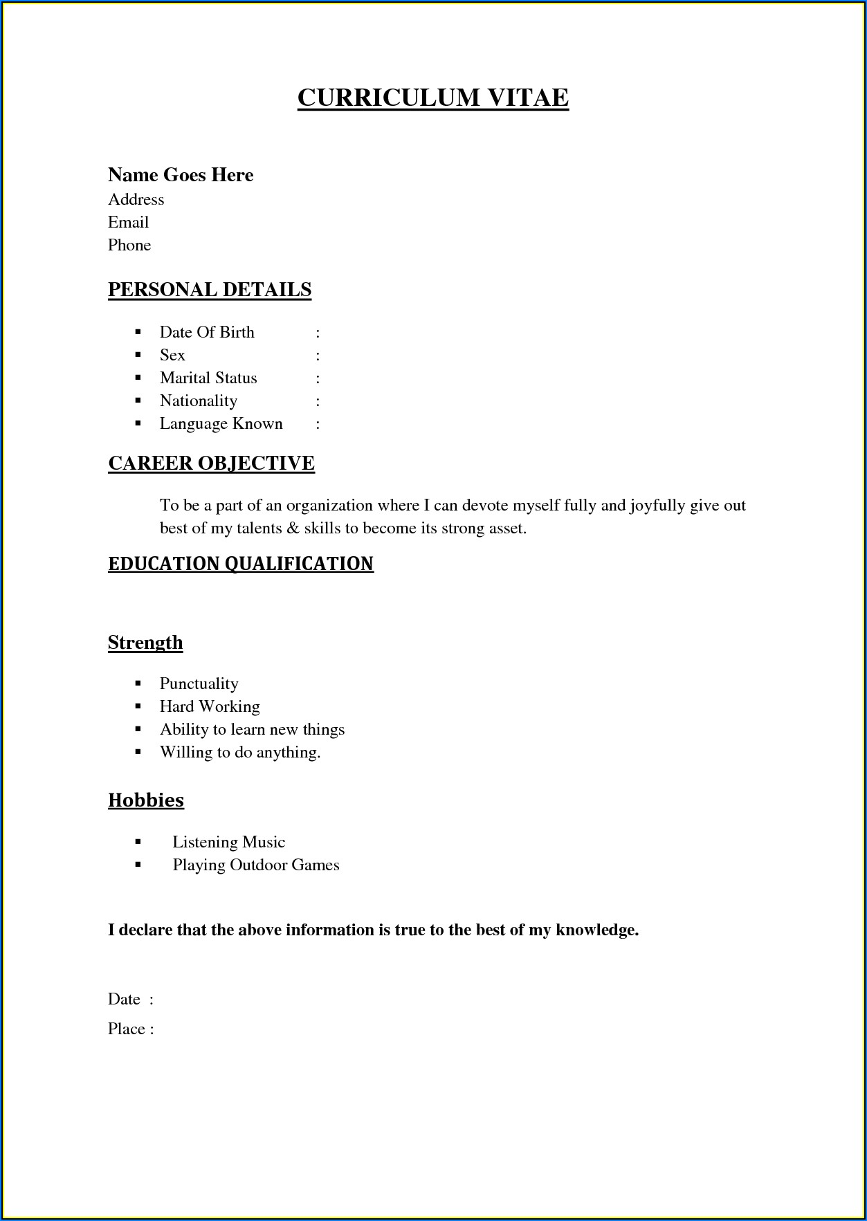 Simple And Easy Resume Format