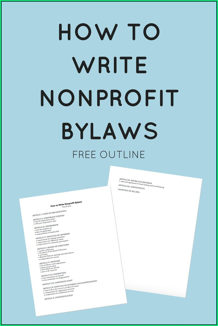 Simple Bylaws Template For Nonprofit Organization