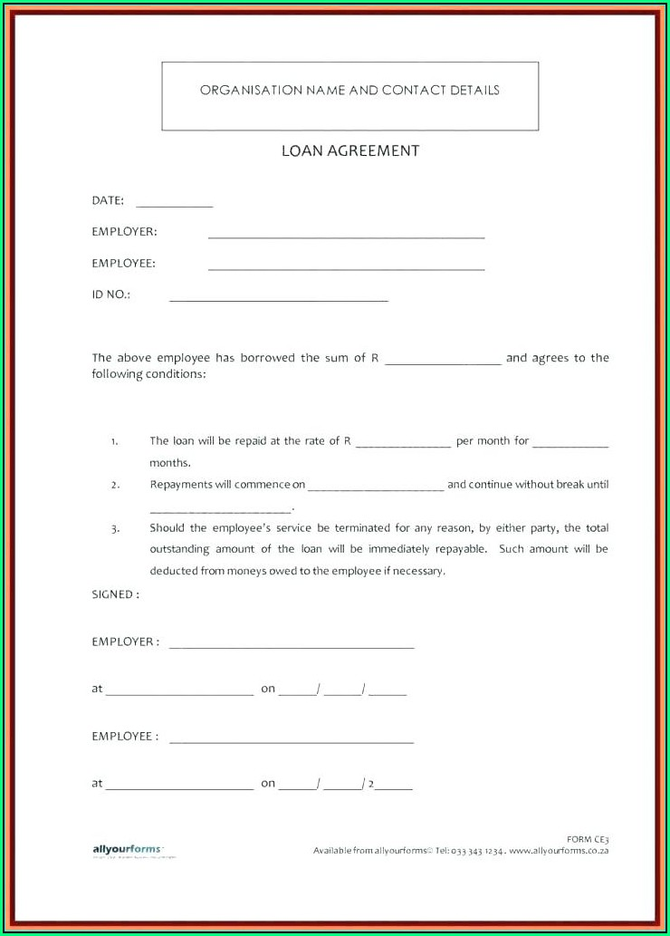 Simple Family Loan Agreement Template Free