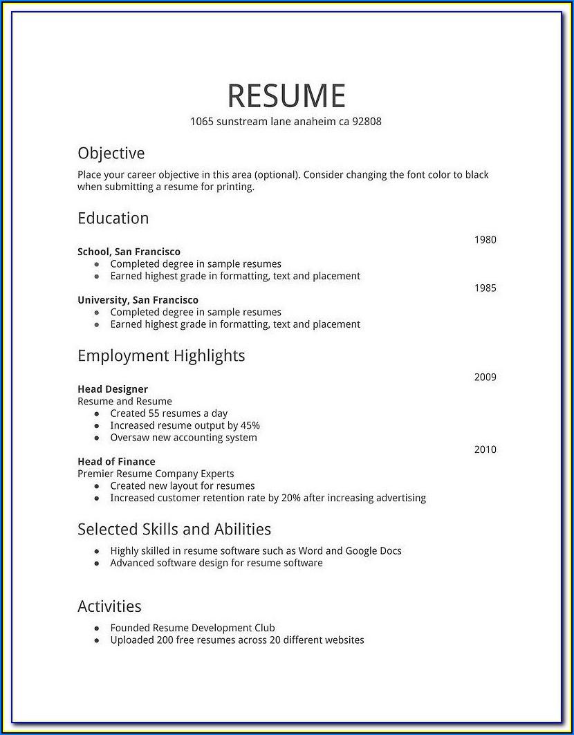 Simple Job Resume Format Download In Ms Word