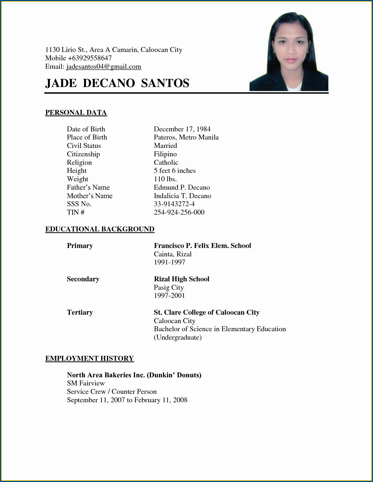 Simple Resume Format Examples