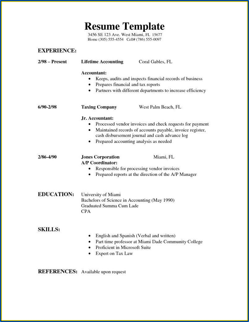 Simple Resume Format Sample For Job