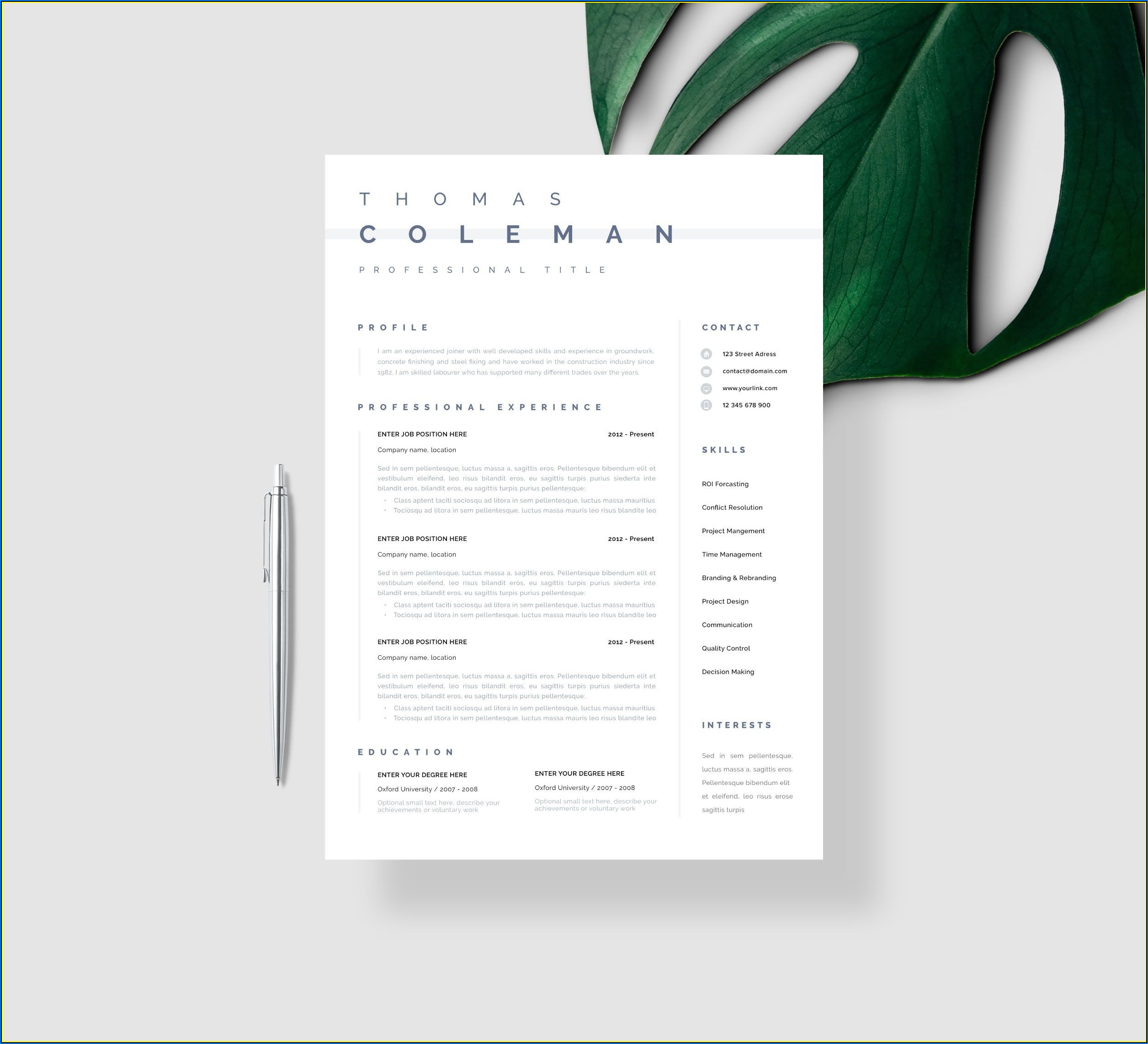 Simple Resume Template Download Word