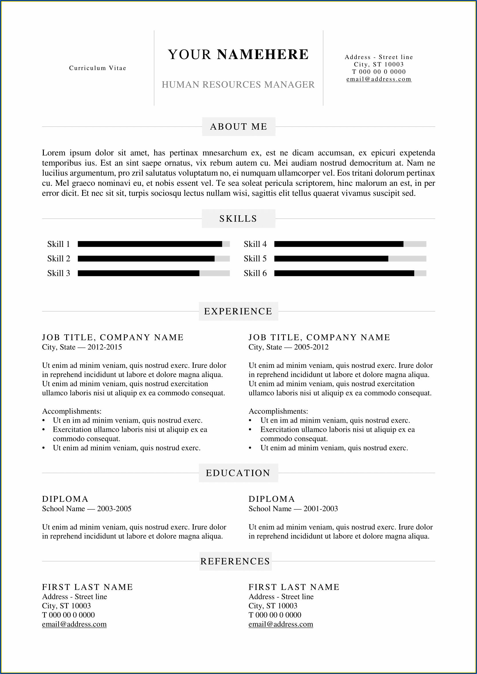 Simple Resume Template Word