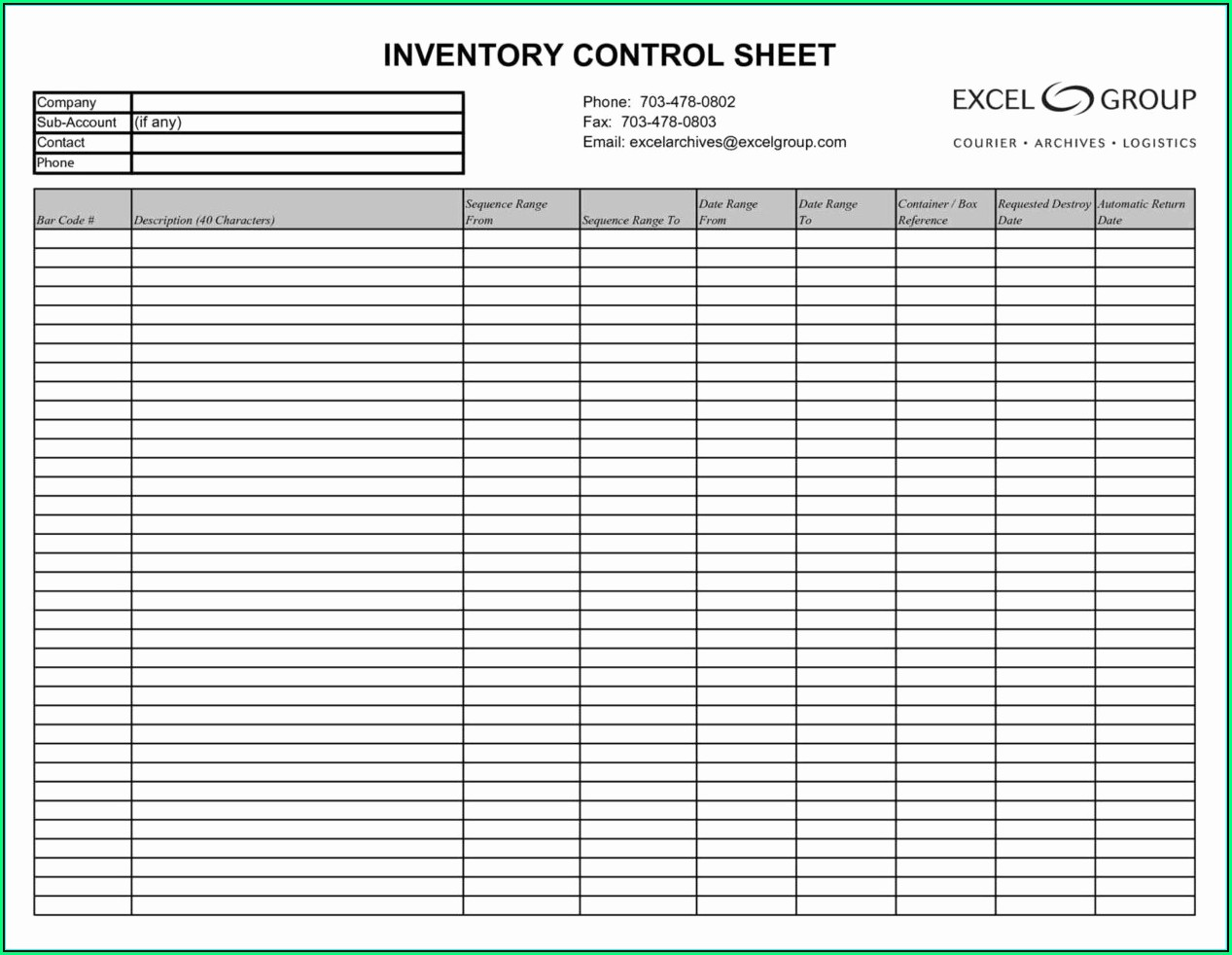 Small Business Inventory Spreadsheet Template Excel