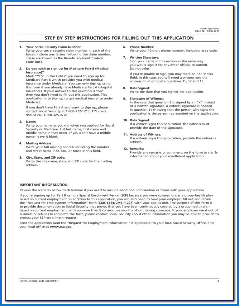 Social Security Medicare Part B Application Form