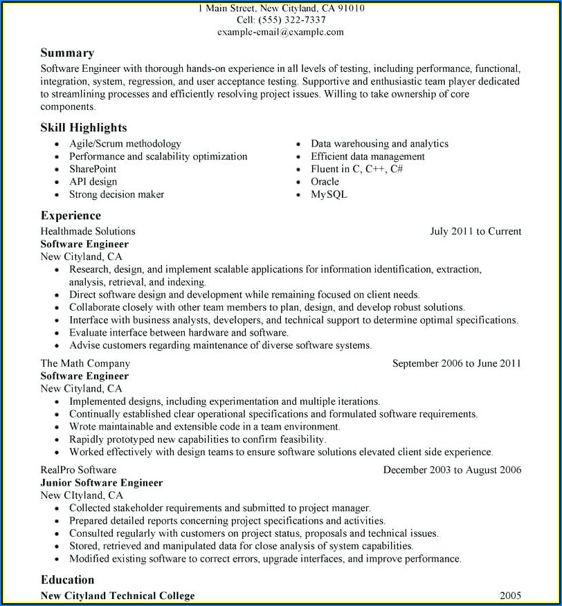 Software Engineer Resume Template Microsoft Word Download