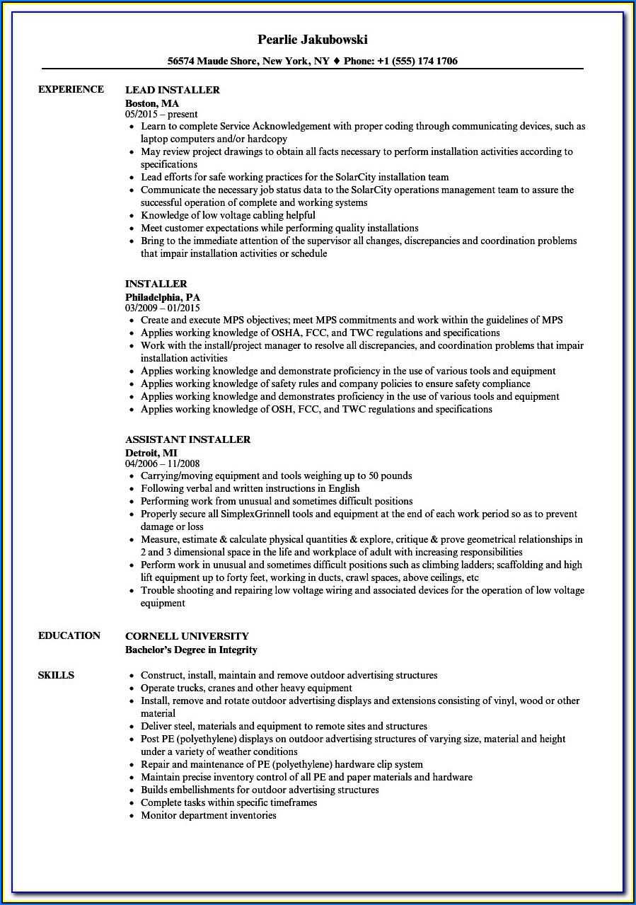 Solar Installer Resume