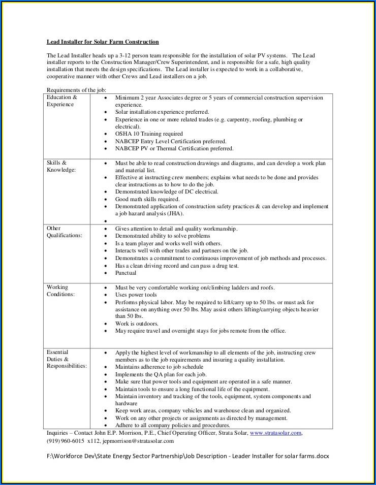 Solar Pv Installer Resume