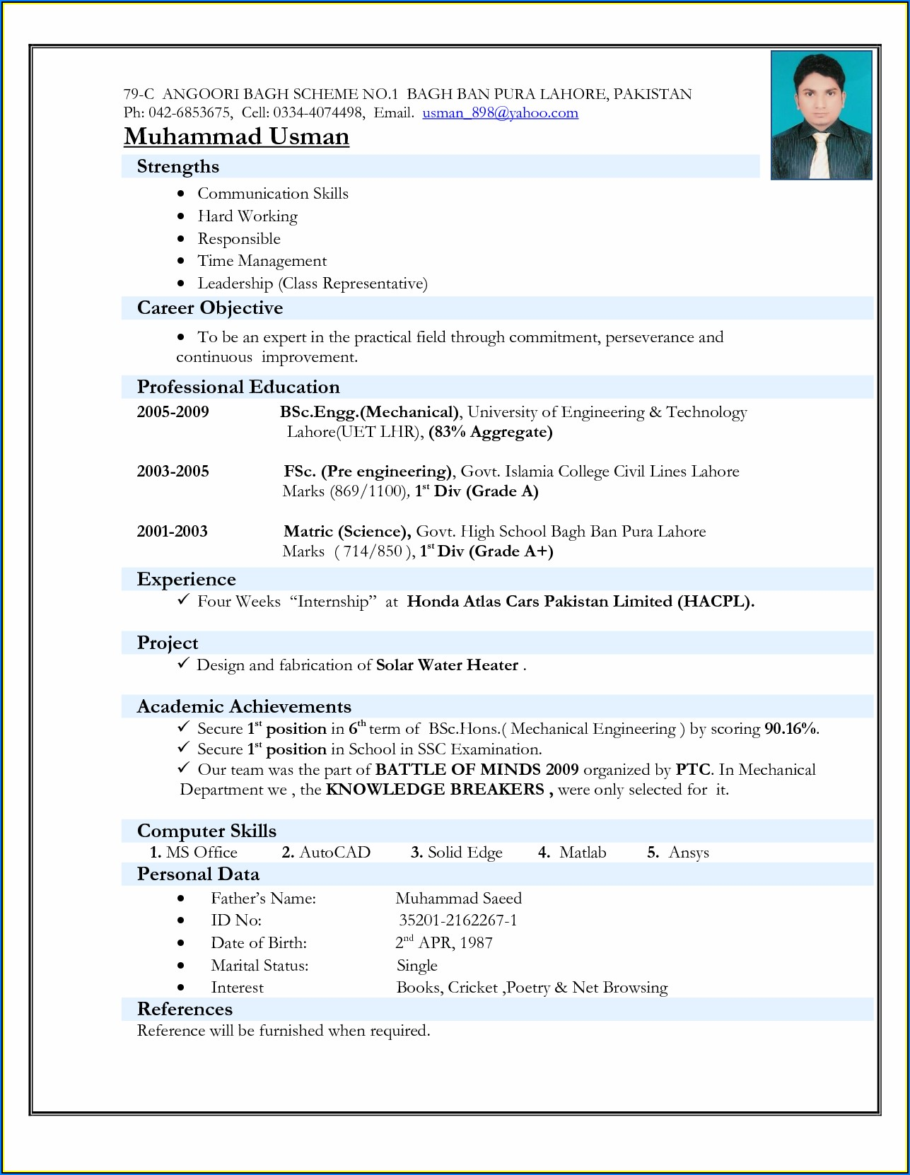 Solar Technician Resume Sample