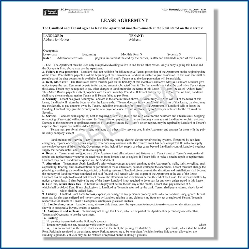 Standard Form Of Store Lease The Real Estate Board Of New York Inc